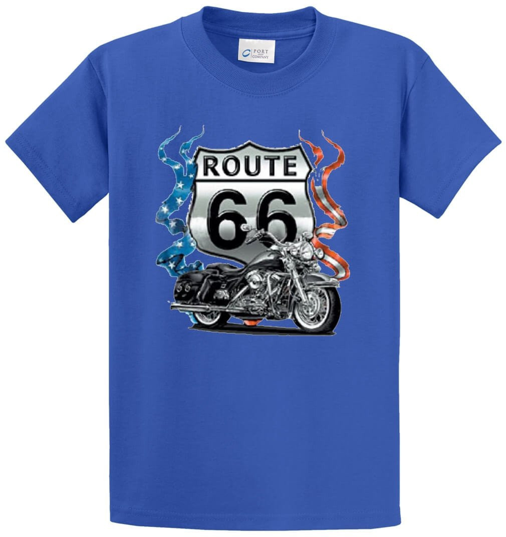 Route 66 Patriotic Motorcycle Printed Tee Shirt-1
