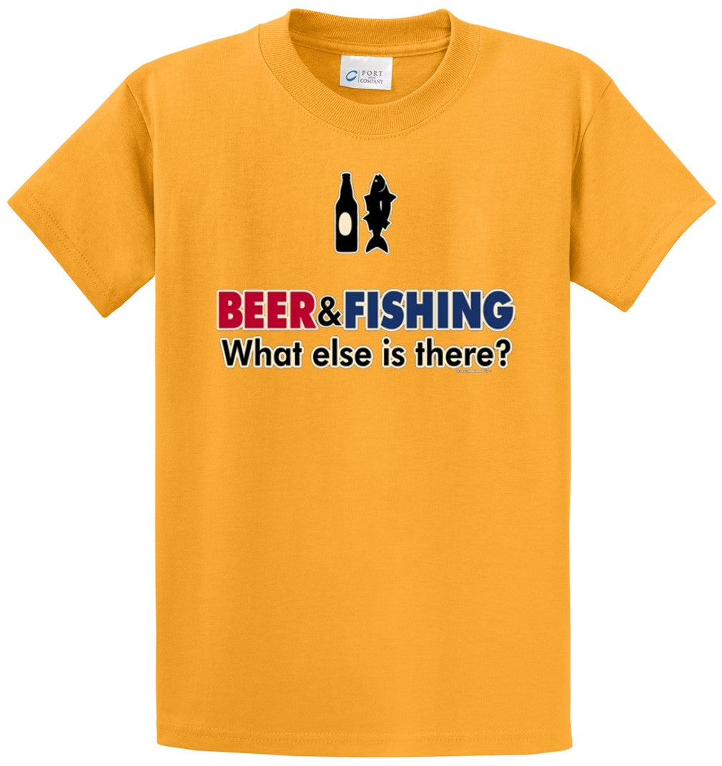 Beer & Fishing What Else Printed Tee Shirt-1