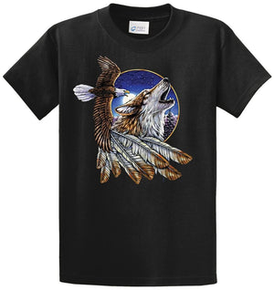 Wolf And Eagle Printed Tee Shirt