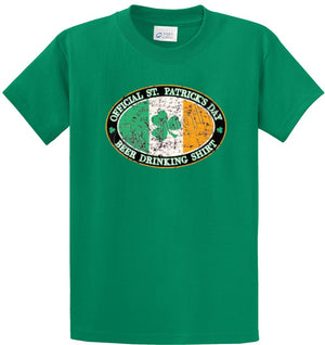 Official St. Patricks Day Beer Drinking Shirt Printed Tee Shirt