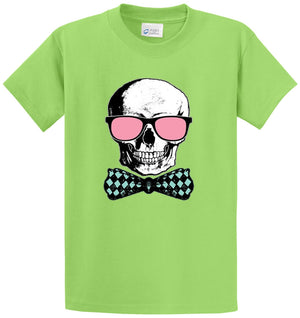 Skull W Pink Glasses And Bowtie Printed Tee Shirt