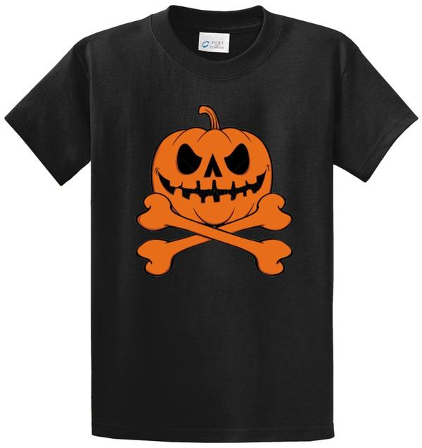 Pumpkin Skull And Crossbones Printed Tee Shirt-1