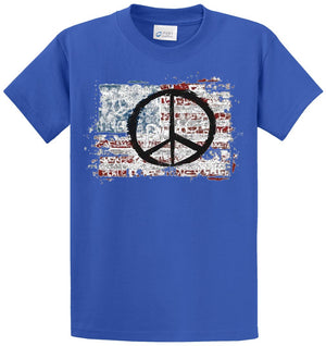 American Flag-Peace Printed Tee Shirt