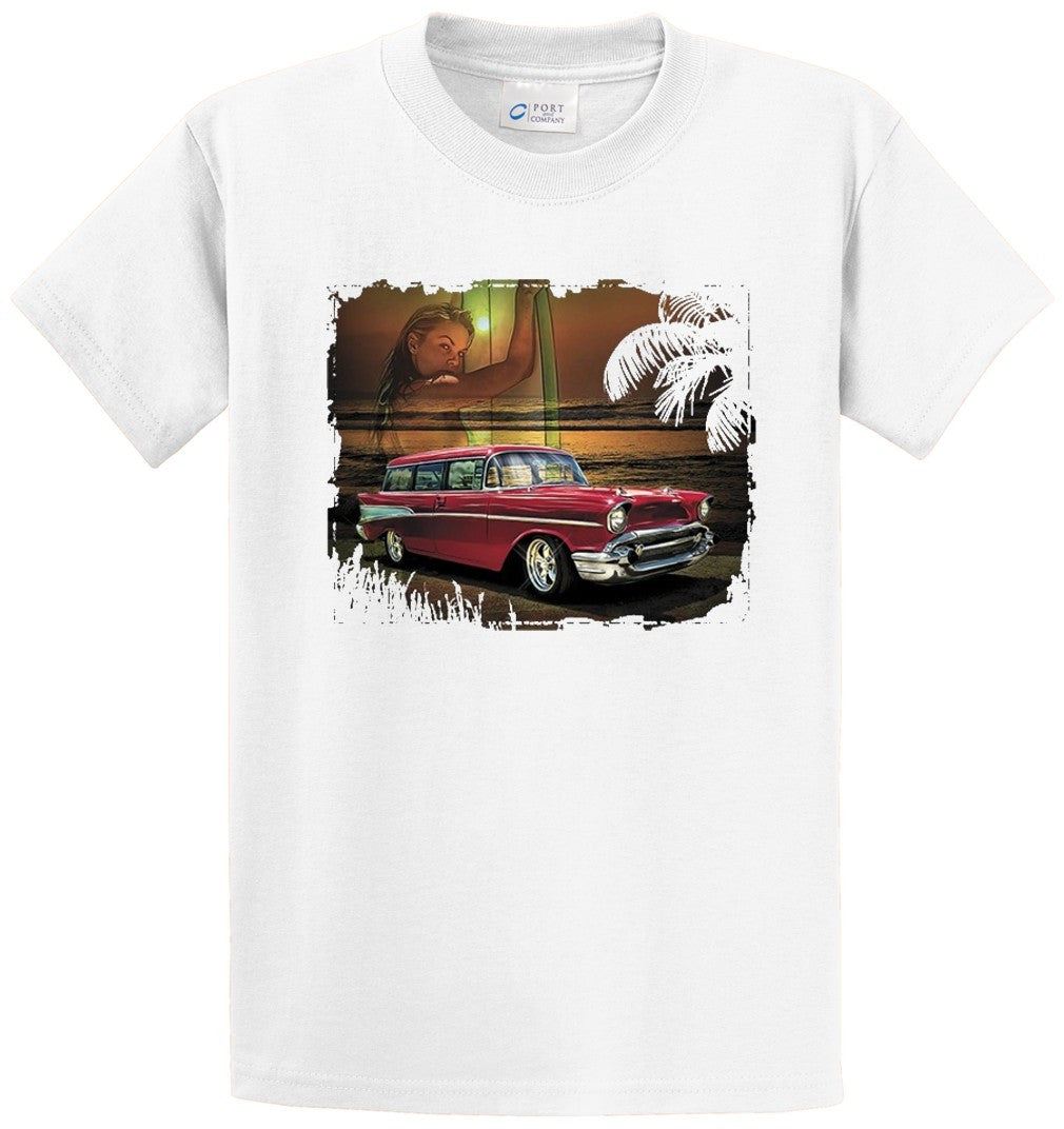 Antique Car On Beach Printed Tee Shirt-1