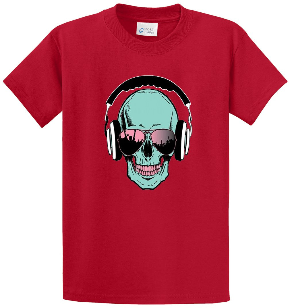 Skull With Headphones Printed Tee Shirt-1