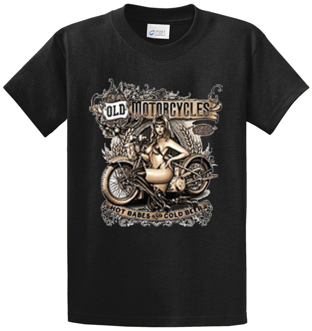 Old Motorcycle Hot Babes Cold Beer  Printed Tee Shirt-1