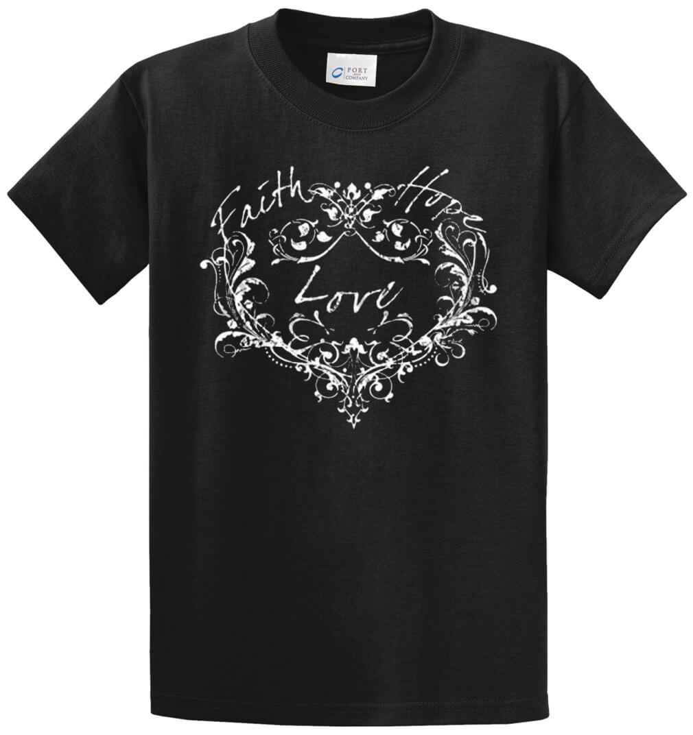 Faith Love Hope Heart Printed Tee Shirt-1