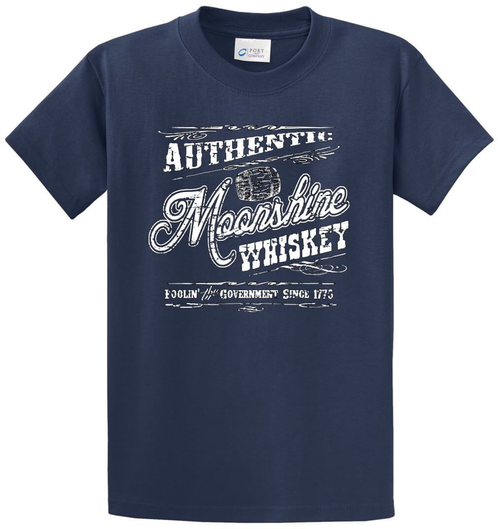 Authentic Moonshine Whiskey Printed Tee Shirt-1