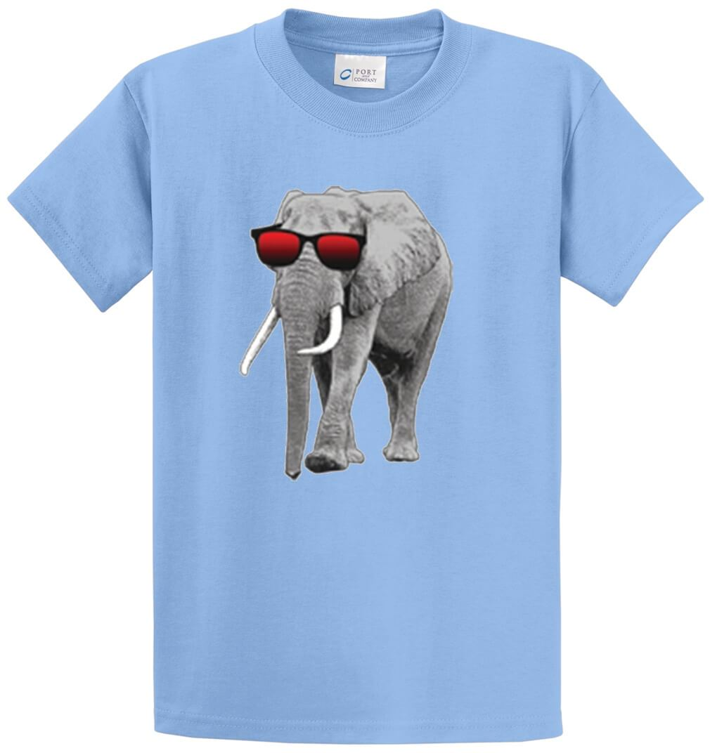 Elephant With Sunglasses Printed Tee Shirt-1