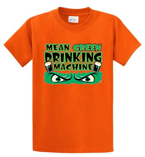 Irish Mean Green Drinking Machine Printed Tee Shirt-1