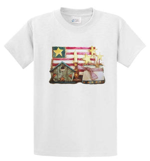 Americana Crock W/Stars Ladies Printed Tee Shirt