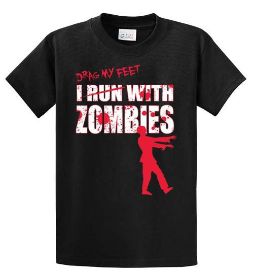 I Drag My Feet With Zombies Printed Tee Shirt-1