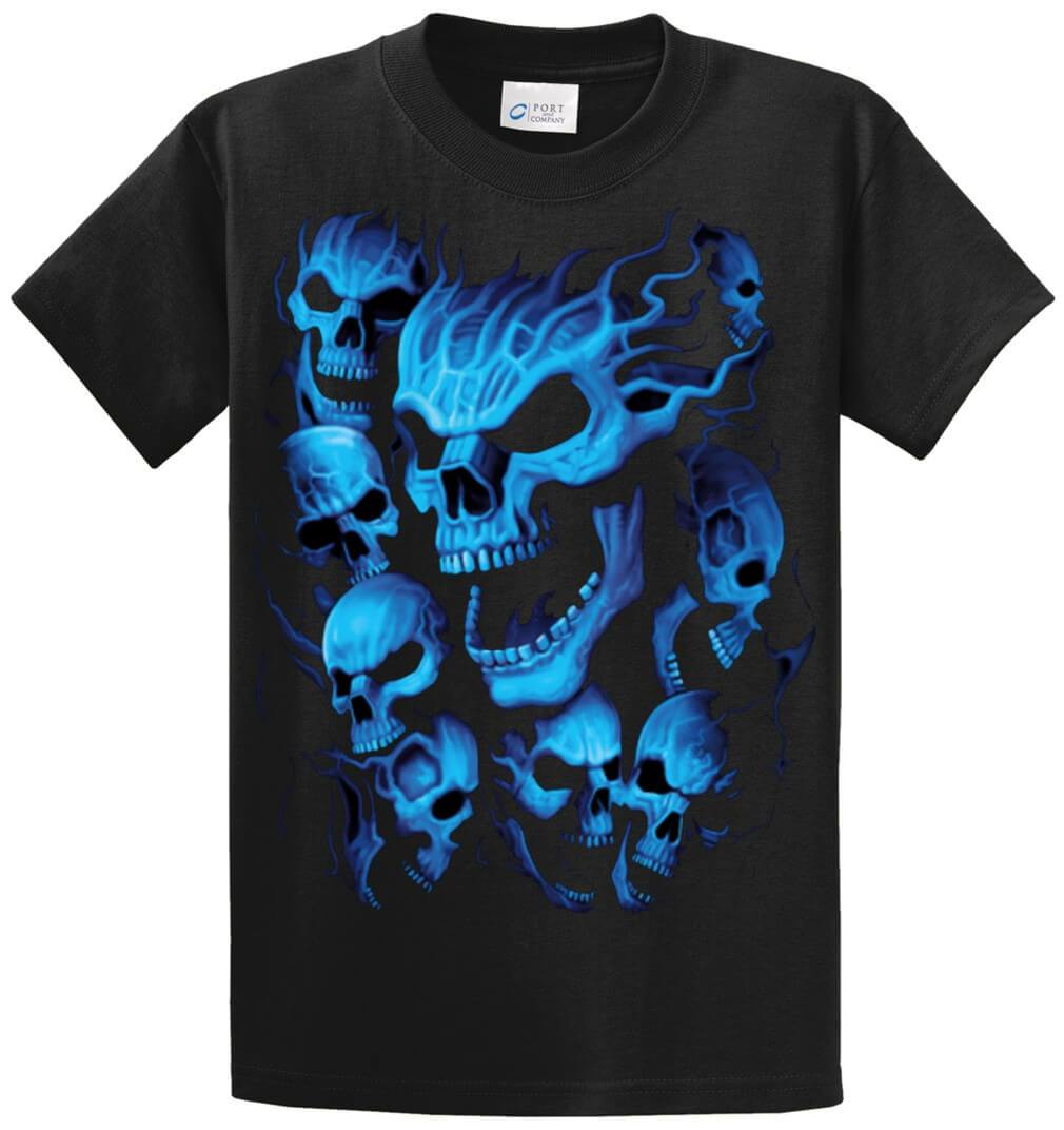 Blue Skulls Printed Tee Shirt (Oversized)-1