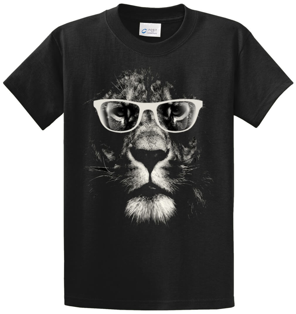 Lion With Glasses Printed Tee Shirt-1