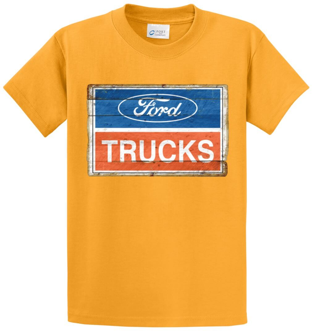 2001 Ford Trucks Logo Vintage Sign Printed Tee Shirt-1