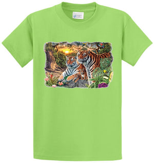 Tiger Scene Printed Tee Shirt