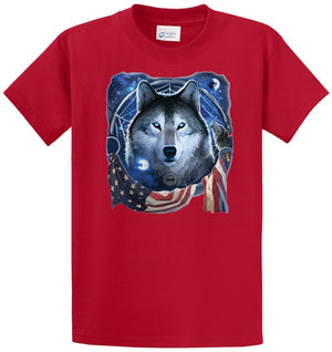 Wolf Dream Flag Printed Tee Shirt