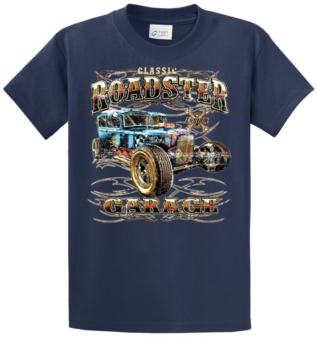 Hot Rod Roadster Garage Printed Tee Shirt-1