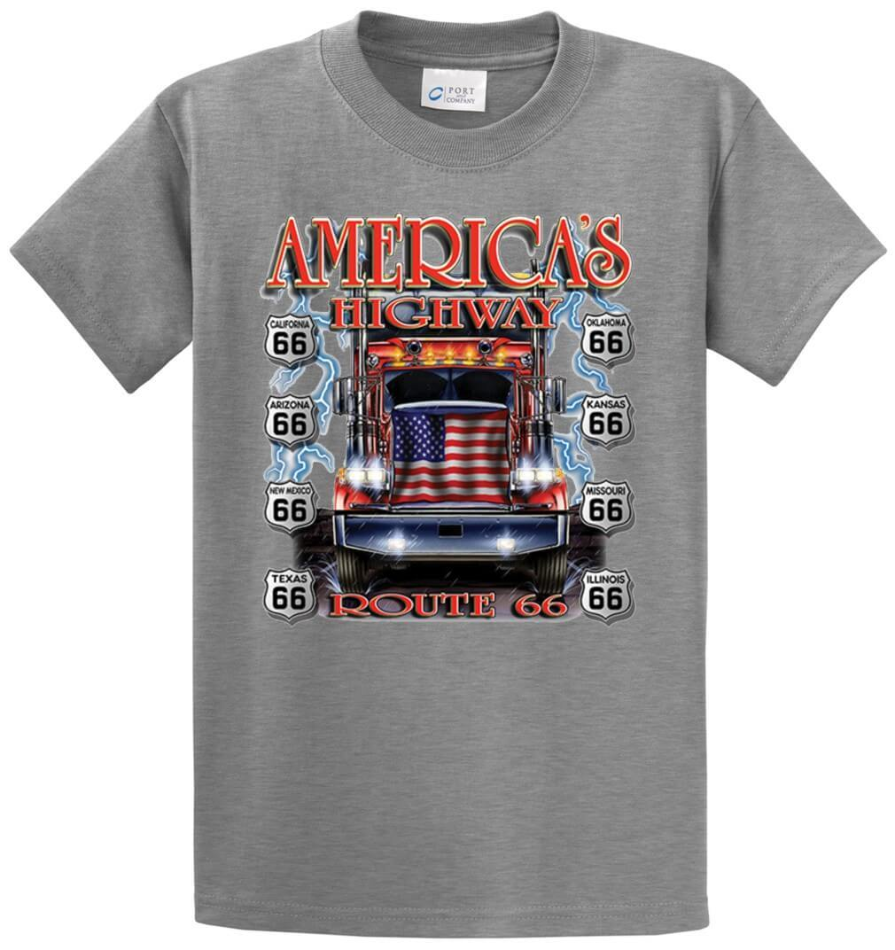 America's Highway Flag Truck Printed Tee Shirt-1