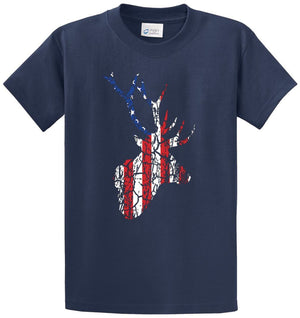 Flag Deer Distressed Printed Tee Shirt