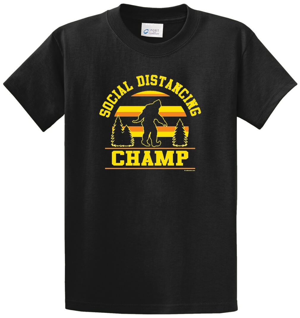 Social Distancing Champ Printed Tee Shirt-1