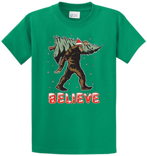 Believe Christmas Sasquatch Printed Tee Shirt