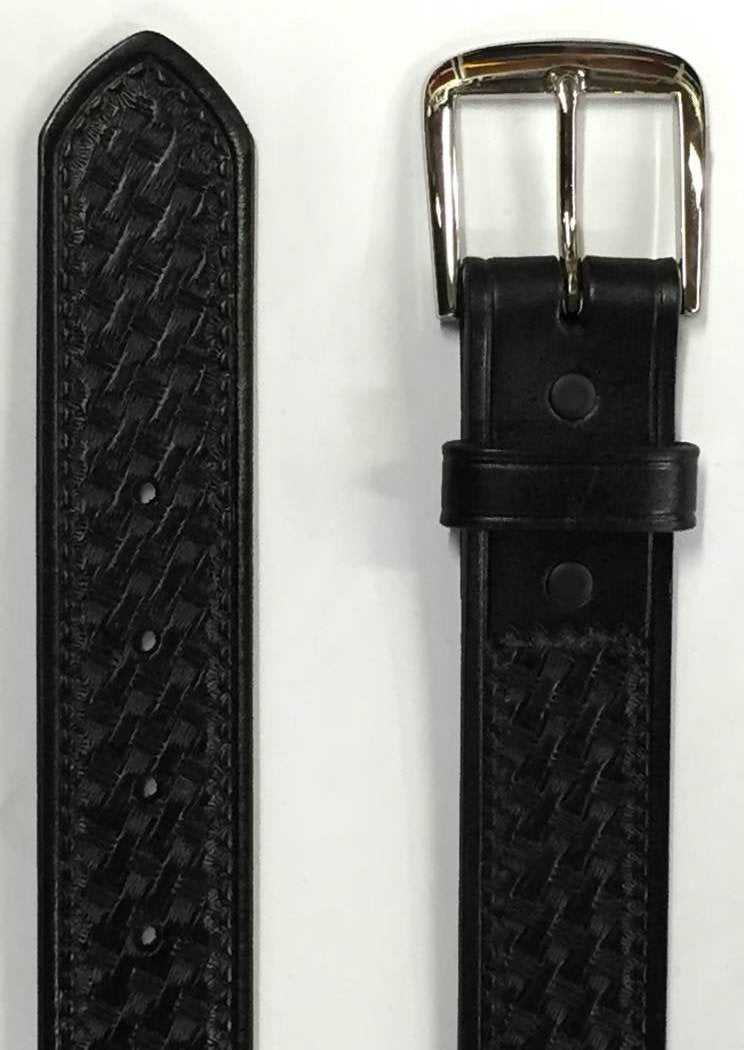 Big Man Black Leather Weave Design Belt