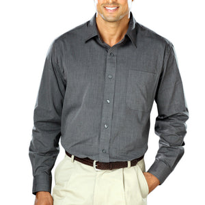 Blue Generation Long Sleeve Heathered Crossweave Shirt
