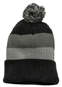 District Brand Vintage Striped Beanie With Removable Pom-3