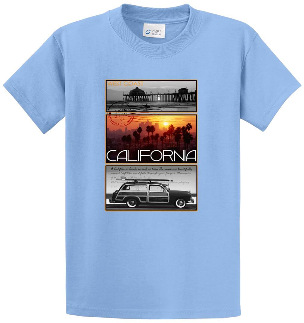 West Coast Postcard Pier Palm California Printed Tee Shirt-1