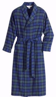 Plaid Flannel Shawl Collar Robe-1