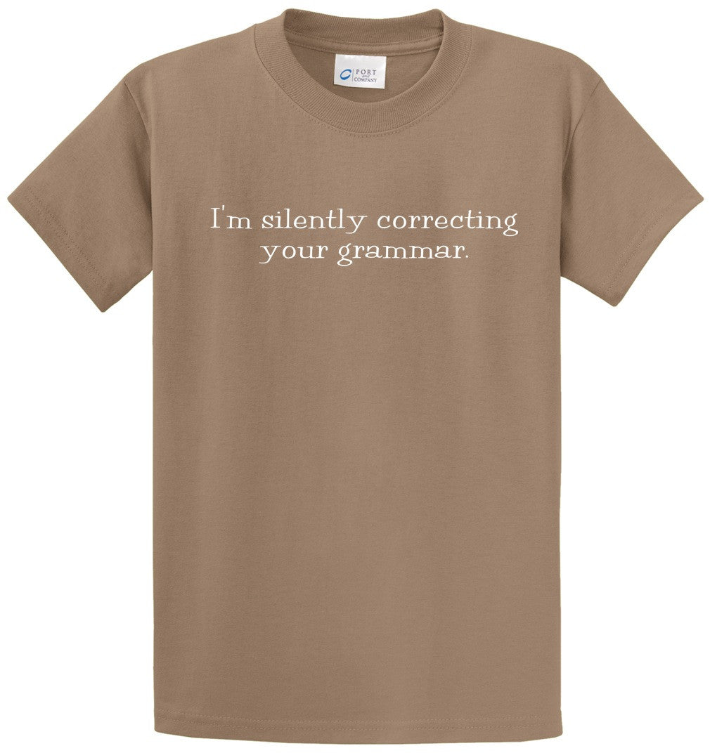 Silently Correcting Your Grammar Printed Tee Shirt-1