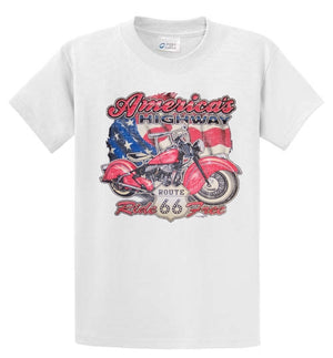 America's Highway Route 66 Ride Free Printed Tee Shirt