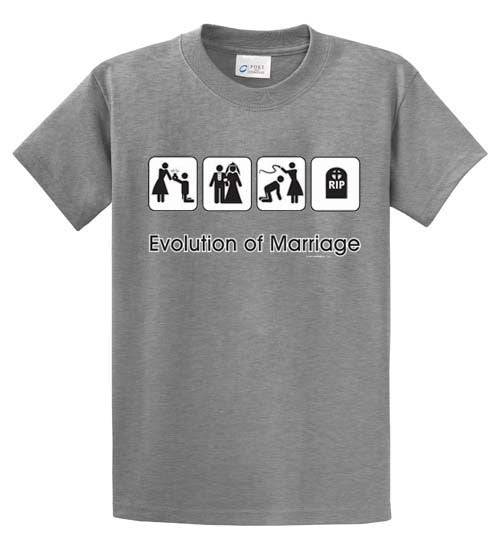 Evolution Of Marriage Printed Tee Shirt-1