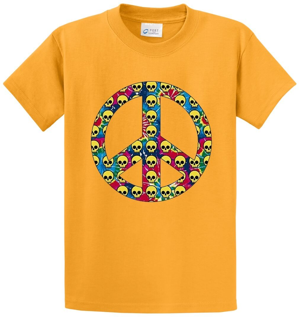 Peace Sign Skulls Printed Tee Shirt-1