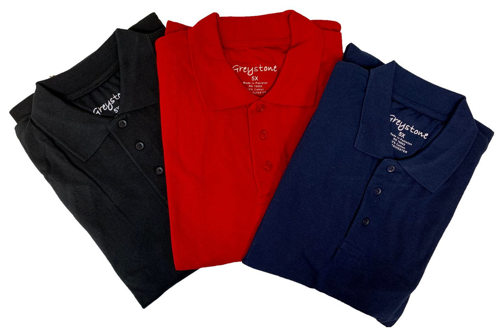 GREYSTONE 60/40 Big Tall Man PIQUE POLO SHIRT-1