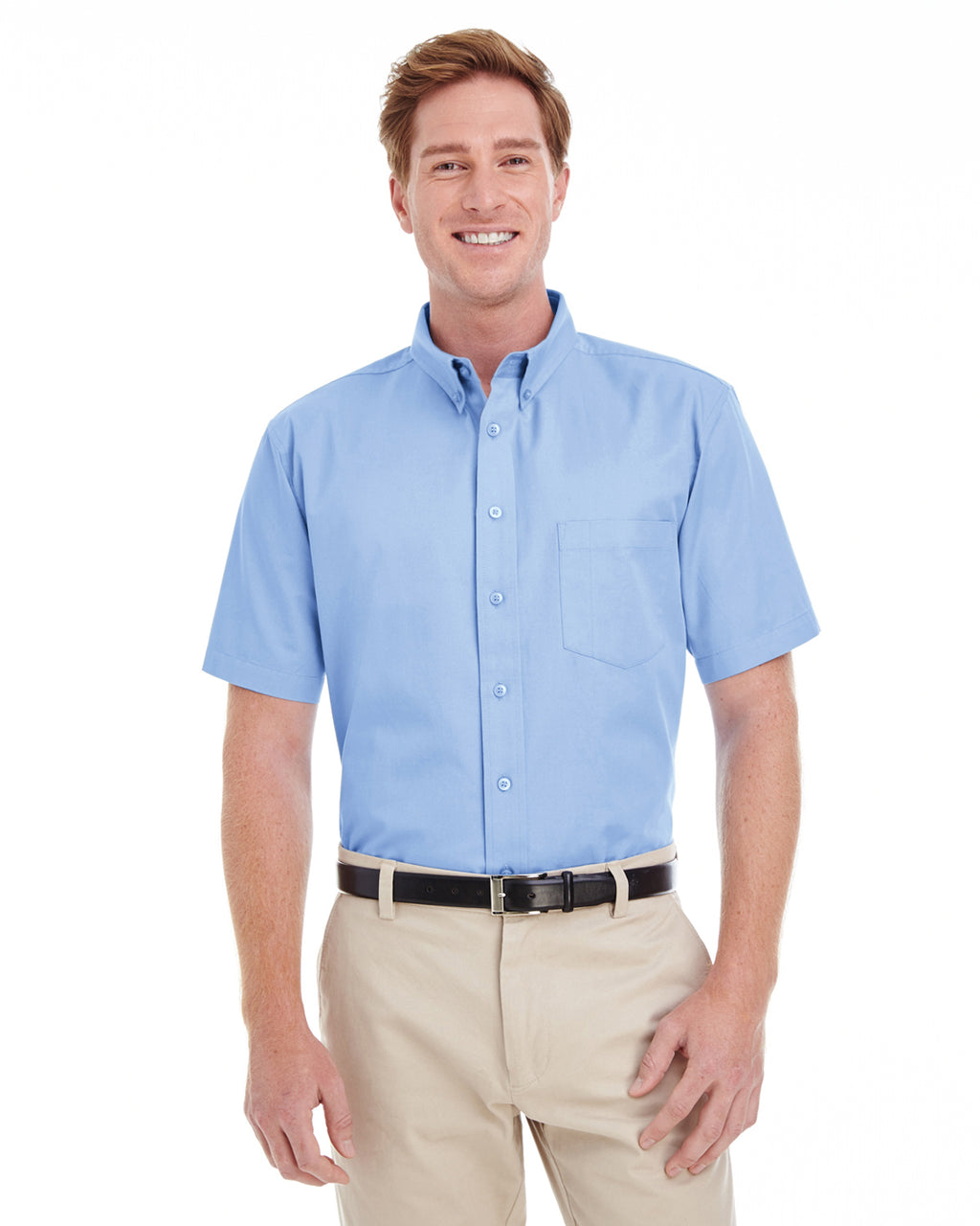 Harriton Men's 100% Cotton Short-Sleeve Twill Shirt with Teflon™ Closeout-2