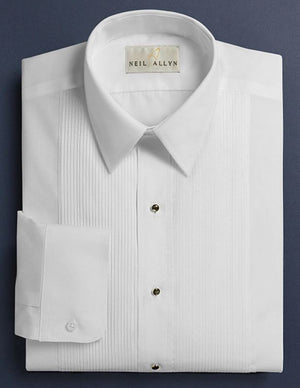 Neil Allyn White Lay Down Collar 1/8 Pleat Tuxedo Shirt