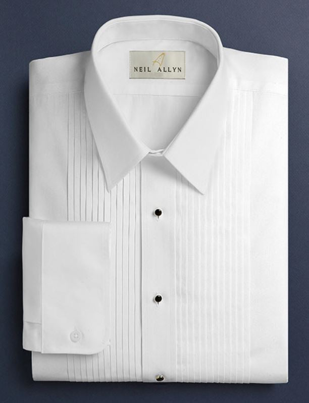 Neil Allyn White Lay Down Collar 1/4 Pleat Tuxedo Shirt-1
