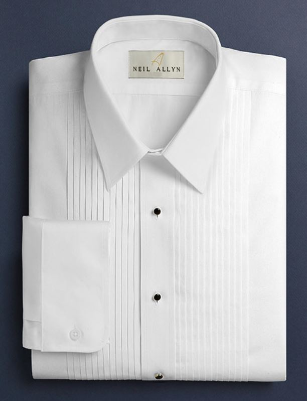 Neil Allyn White Lay Down Collar 1/4 Pleat Tuxedo Shirt
