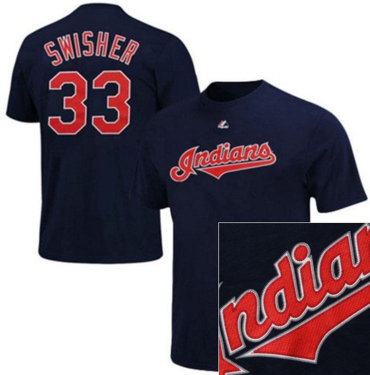 Majestic Indians Nick Swisher Big Man Tee Shirt Closeout-1