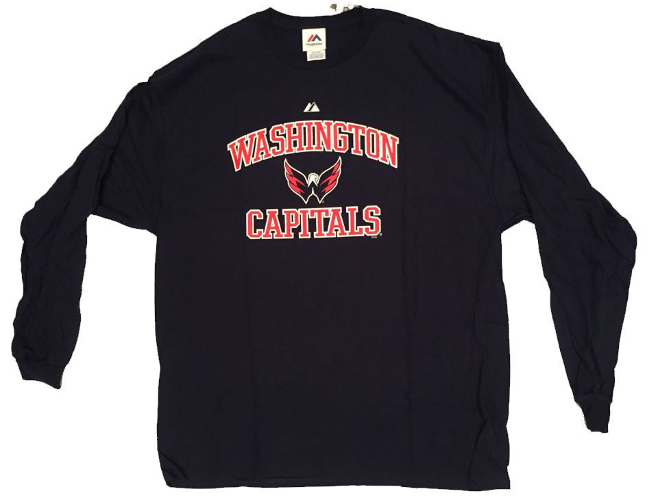 Majestic NHL Washington Capitals Long Sleeve Big Men's Hockey Tee Shirt-1