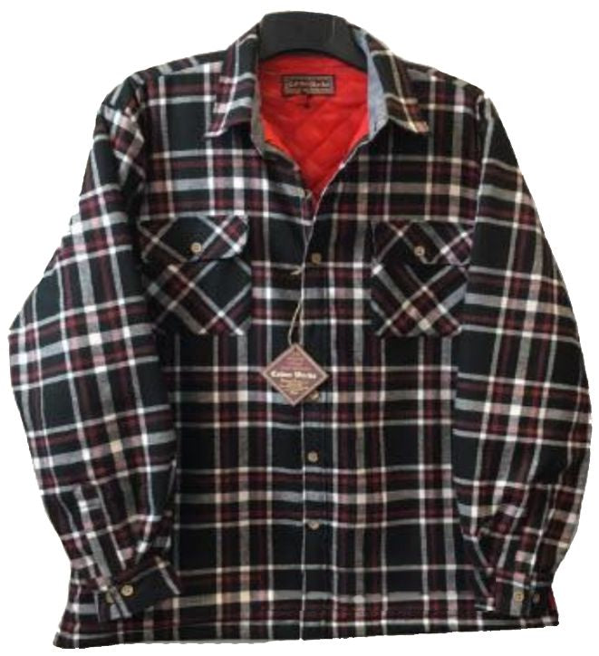 Falcon Bay Men's Long Sleeve Quilt Lined Flannel Plaid Shirt
