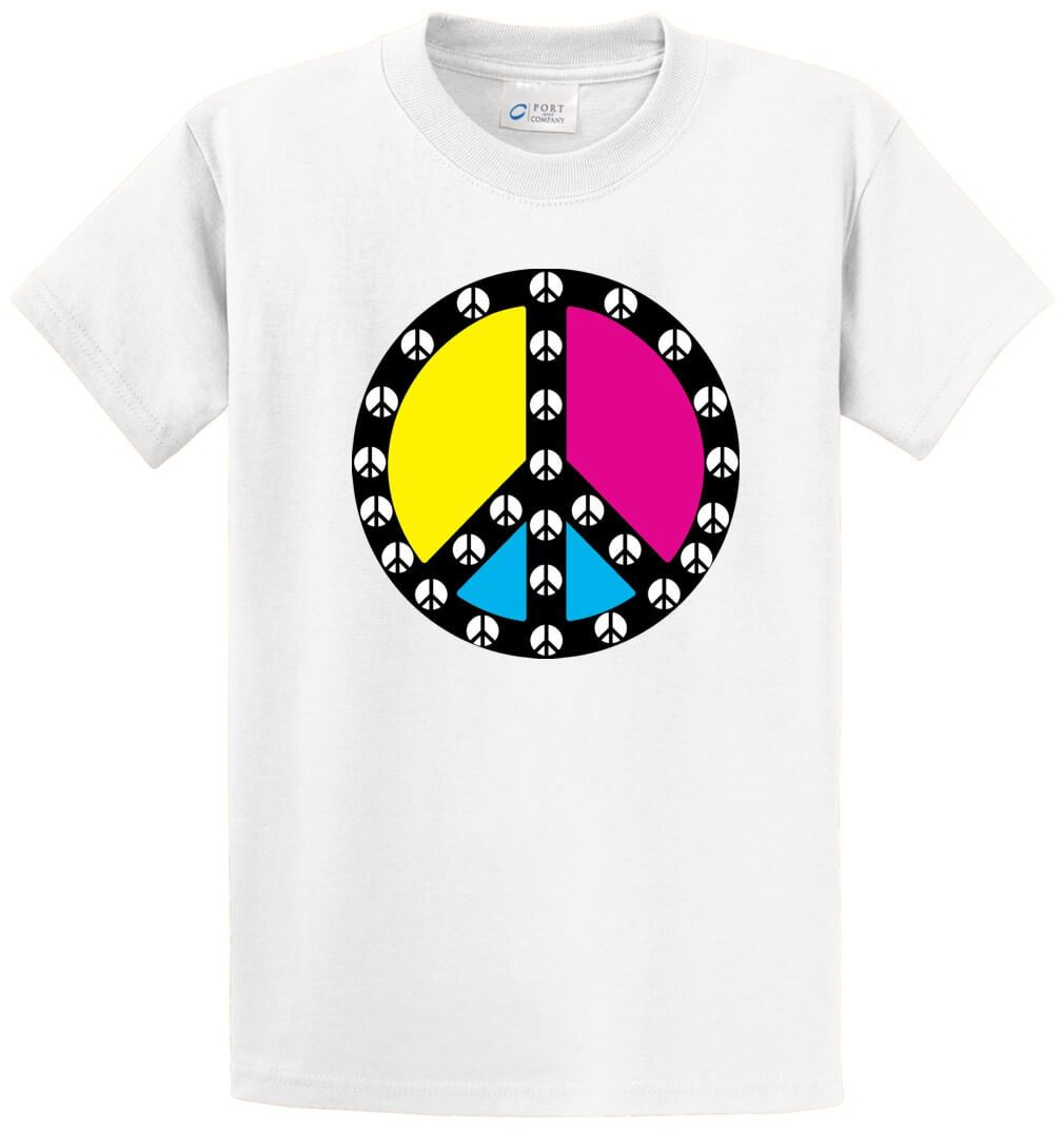 Peace Signs Inside Peace Sign Printed Tee Shirt-1