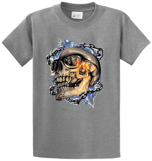 Smokin' Skull With Chains Printed Tee Shirt