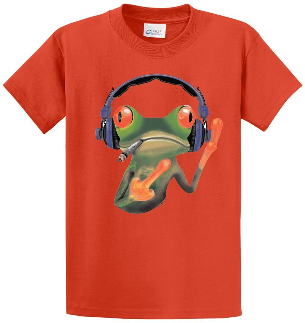 Smokin' Frog With Headphones Printed Tee Shirt-1