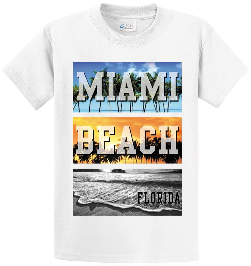 Photo Palm Beach Miami Beach Fl (Oversized) Printed Tee Shirt-1