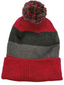 District Brand Vintage Striped Beanie With Removable Pom-2