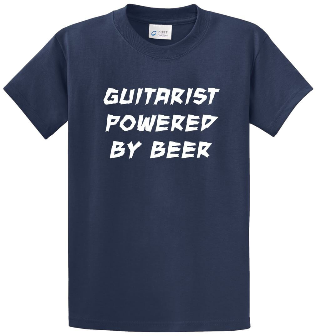 Guitarist Powered By Beer Printed Tee Shirt-1