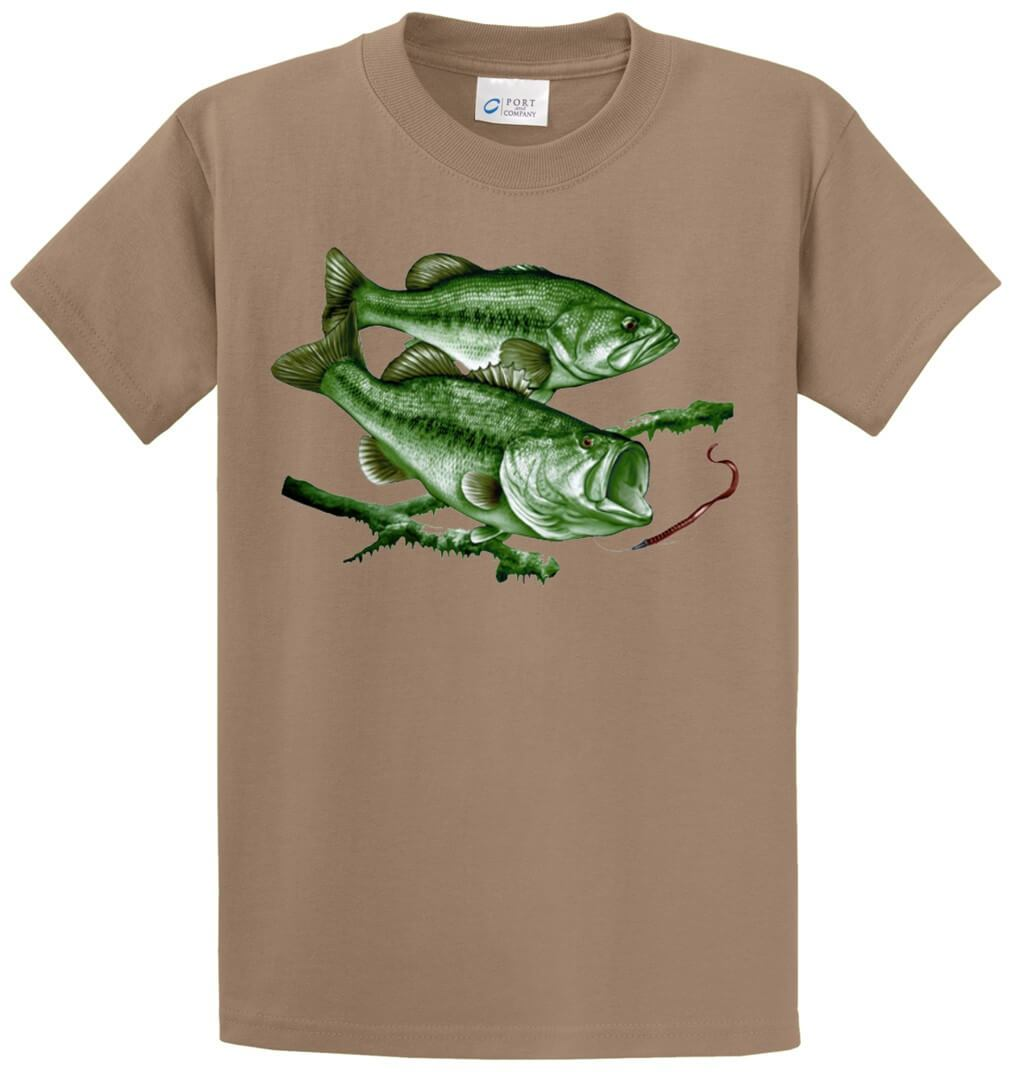 Largemouth Bass Scene Printed Tee Shirt-1